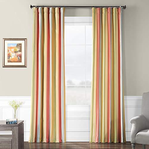 Pts-SLK20-108 Luxury Faux Silk Stripe Curtain, 50 x 108