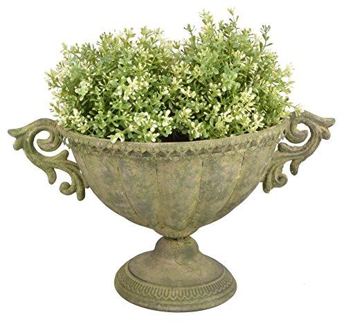 Esschert Design AM69 Oval Aged Metal Urn, Small, Green