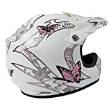 TCMT-Dot-Youth-Kids-Motocross-Offroad-Street-Helmet-Pink-Butterfly-Motorcycle-Helmet-White-Dirt-Bike-Dirt-Bike-HelmetGogglesgloves