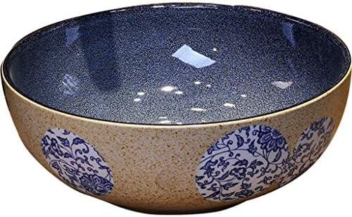 洗面ボール・洗面器 カウンター盆地の上に青と白の磁器 セラミックグラデーションブルーのレトロな洗面台 中国風アートガーデンシンク (Color : Blue, Size : 40cm)
