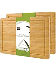 KICHLY (Pack of 2) Extra Large Organic Bamboo Cutting Board (17 x 12 Inch) - Large Cutting Boards for Meat and Chopping Vegetables