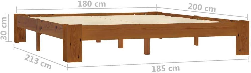 FAMIROSA Bettgestell Hellbraun Massivholz Kiefer 180/×200 cm