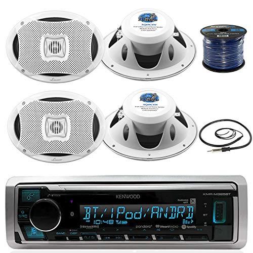 Kenwood Marine Digital Media Bluetooth Receiver, 4X Lanzar 6'X9'' Marine White Speakers, Marine 50 FT 16-G Tinned Speaker Wire, Antenna - 40