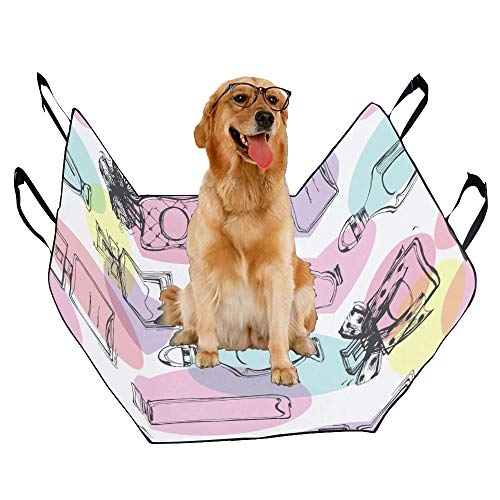 (MOVTBA Fashion Oxford Pet Car Seat Perfume Romantic Scent Design Retro Color Waterproof Nonslip Canine Pet Dog Bed Hammock Convertible for Cars Trucks SUV)
