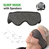 Music Sleep Eye Mask with Wired Headphones Stereo Speaker, Comfortable Sleep Noise Canceling Earphones, Perfect for Air Travel, Meditation & Relaxation, Best Christmas Gifts (Dark Gray)
