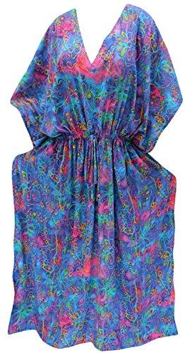 La Leela Beach Wear Likre Plus Size Boho Maxi Kimono Loose Lounger Drawstring Aloha Over Size Blue - Per Sol