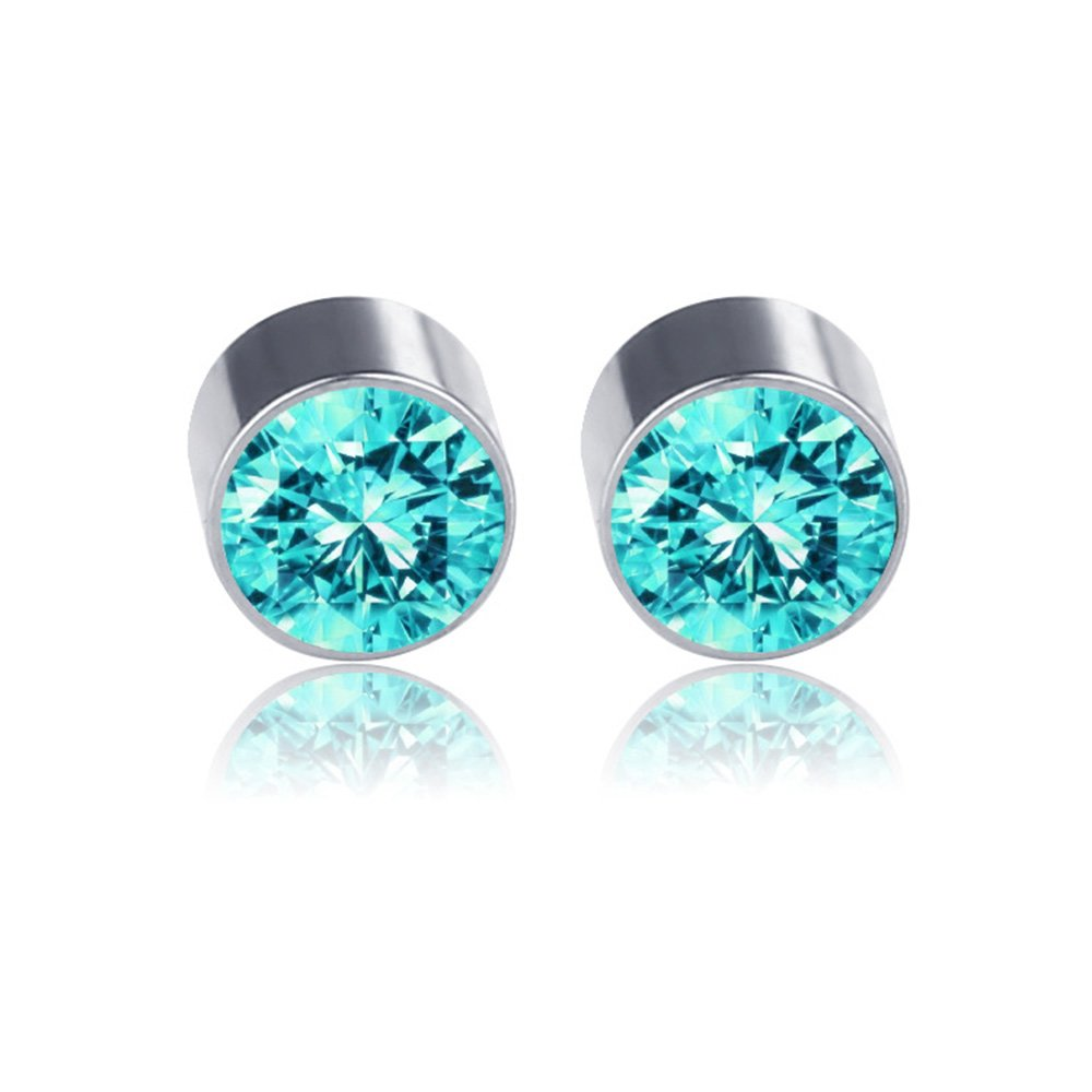 Non Piercing Stainless Steel Fake Magnetic Crystal Ball Ear Stud