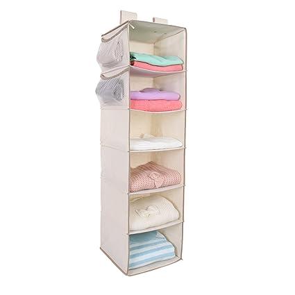 MustQ 6 Shelf Hanging Closet Organizer,Beige (Beige)