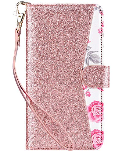 ULAK Flip Wallet Case for iPhone 6s Plus, iPhone 6 Plus Case, Floral PU Leather Wallet Kickstand Case with Wrist Strap ID&Credit Card Pockets for iPhone 6 plus/6S Plus 5.5, (Bling + Pink)