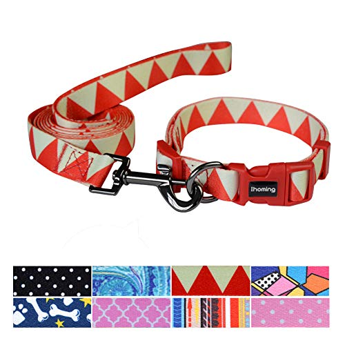 Ihoming Pet Collar Leash Set Halloween Pumpkin Combo Safety Set for Daily Outdoor Walking Running Training Small Medium Large Dogs Cats Splicing Triangle Extra Small