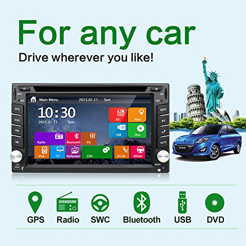Latest Win 8 Ui Design 6.2 inch In-dash Double-din LCD Touch Screen Navigation Car Video Audio Radio Auto Stereo with Bluetooth,Subwoofer output+Free GPS Antenna+Review Camera (Camera Digital Reviews Screen Touch)