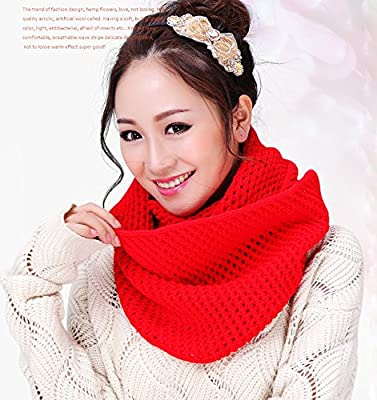 Eforstore Unisex Winter Warm Knitted Thicken Hollow Out Neckerchief Knit Infinity Scarf Christmas New Year Birthday Gift For Your Family and Friends Women Men