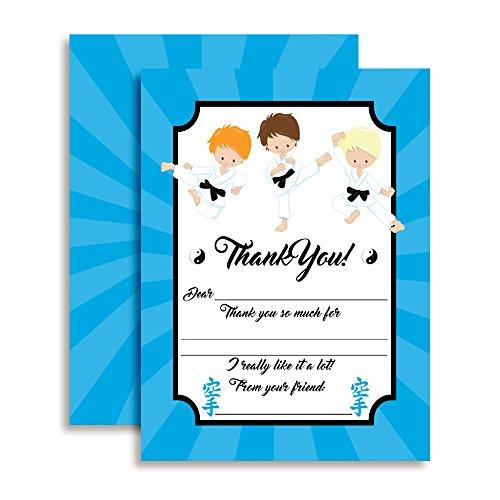 Karate, Martial Arts, Tae Kwon Do Boys Birthday Thank You Notes for Kids, Ten 4