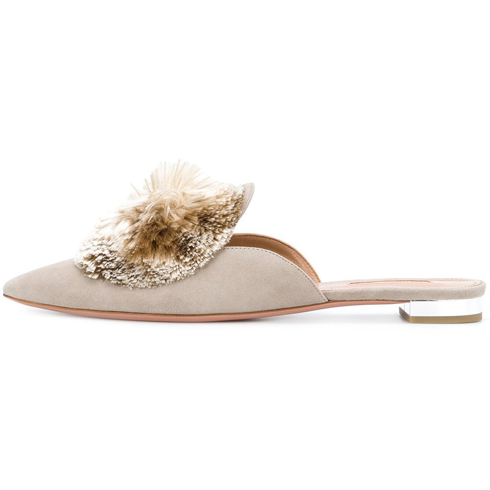 Kmeioo Mules for Women,Puff Pompom-Embellished Slip On Loafers Backless Pointed Toe Satin Mule Slides 8M US