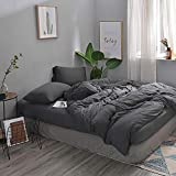 Cotton Duvet Cover Queen MisDress Jersey Knit Cotton Duvet Cover Queen Full Size Dark Gray Duvet Cover Set 3 Pieces, Simple Solid Design, Super Soft and Easy Care