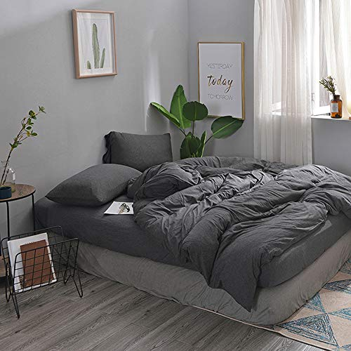 MisDress Jersey Knit Cotton Duvet Cover Queen Full Size Dark