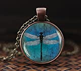 Dragonfly pendant, Dragonfly necklace, Dragonfly jewelry, vintage style Nature jewelry, Blue dragonfly pendant, Antique Art Blue Dragonfly