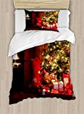 Ambesonne Christmas Duvet Cover Set Twin Size, Xmas Scene Celebrations with Tree and Gifts by The Fireplace Artful Design Image, Decorative 2 Piece Bedding Set with 1 Pillow Sham, Red Yellow
