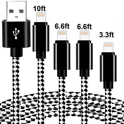 Phone Cable 4 Pack [3/6/10Ft] Extra Long Nylon Braided USB Cable& Syncing Cord Compatible Phone 8/8Plus/7/7Plus/6S/Plus/SE and More(Black).