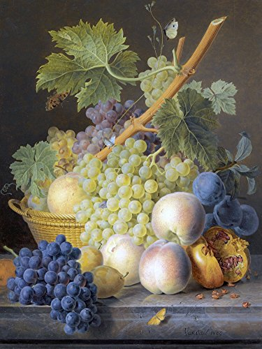 A STILL LIFE WITH GRAPES AND PEACHES by Jan Frans van Dael Accent Tile Mural Kitchen Bathroom Wall Backsplash Behind Stove Range Sink Splashback One Tile 6