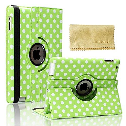 SingPad Apple iPad 2/3/4 Case - 360 Degree Rotating Stand Luxury Polka Dot Design Smart Case Cover for iPad with Retina Display (iPad 4th Generation), the new iPad 3 & iPad 2 - Wake/sleep Function