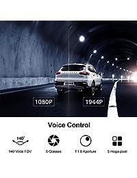 70mai Dash Cam, 1944P FHD Frente Cámara del tablero del automóvil con el módulo GPS, Control de voz, Monitor de estacionamiento, APP Control Dashboard Cámara grabadora, WDR, G Sensor, DVR inteligente de gran angular de 140 ° con visión nocturna