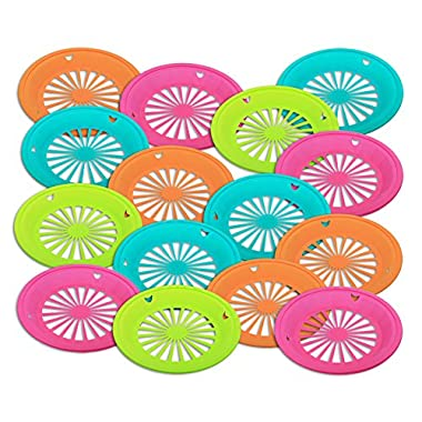 Set of 15 - Reusable Plastic Paper Plate Holder for 9  Plates, Bright Summer Fun Colors for Picnic, BBQ, Parties, & Camping
