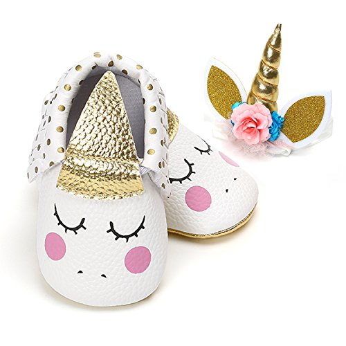 LIVEBOX Baby Premium Soft Sole Infant Toddler Prewalker Anti-Slip Party Dress Crib Shoes with Free Baby Unicorn Headband -