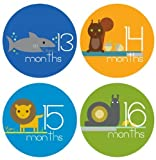 Baby Boy Zoo Animals Baby Monthly Stickers Novlty Milestone Stickers Newborn Sticker Bodysuit Stickers Removable Vinyl Waterproof Months Baby Shower Gifts Months 13-24