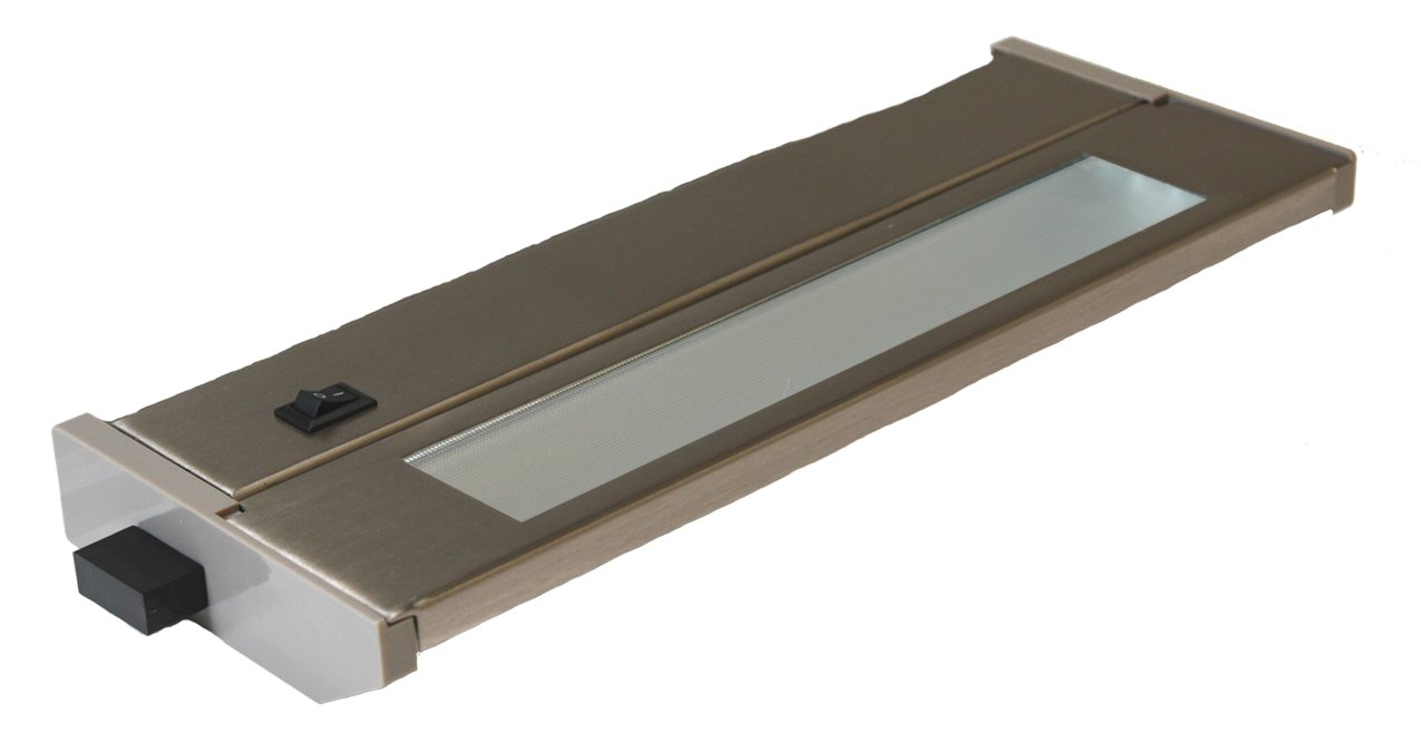 American Lighting 043T-10-BS Hardwire Fluorescent Under Cabinet Lighting, 6-Watt Lamp with On/Off Switch, 120-Volt, Brushed Steel, 10-Inch