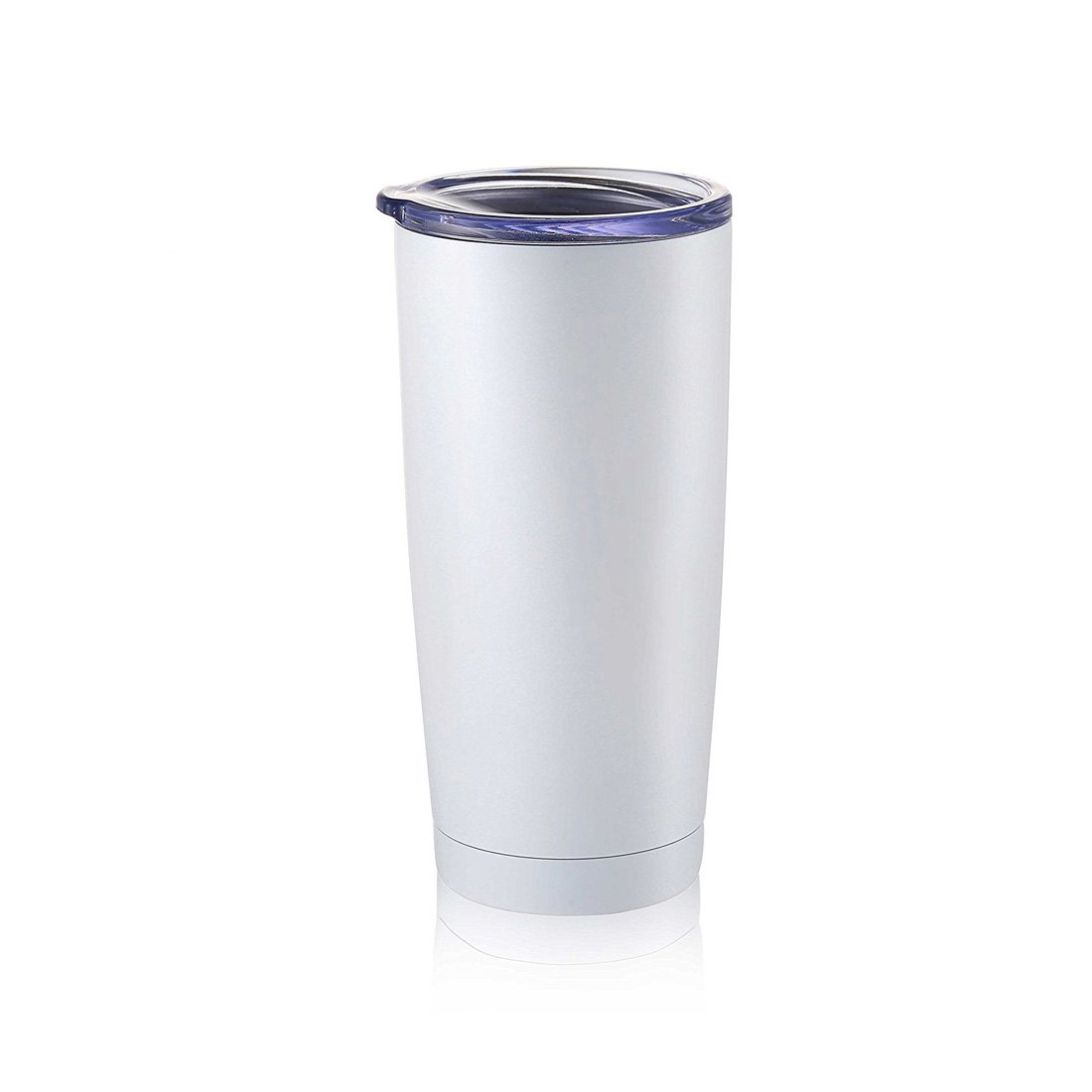 Masvis 20oz Tumbler Vacuum Insulated Stainless Steel Coffee Cup with Lid, Straws - Travel Mug Works Great for Ice Drink, Hot Beverage(White)