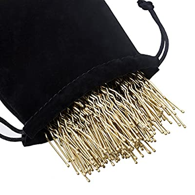 eBoot 100 Pack of U Shaped Hair Pins Bun Hair Pins with Box and Storage Bag, Golden