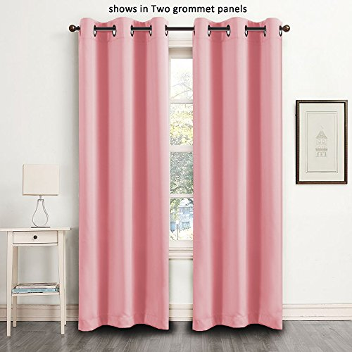 FlamingoP Blackout Light Blocking Faux Silk Satin Solid Pattern Drape Noise Reducing Grommet Top Single Panel for Kids Girls Bedroom 42 by 84 inch -Strawberry Pink