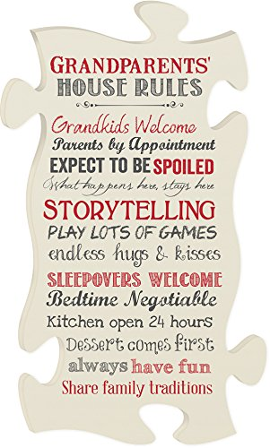 Grandparents' House Rules Large Cream 22 x 13 Wood Wall Art Puzzle Piece Plaque