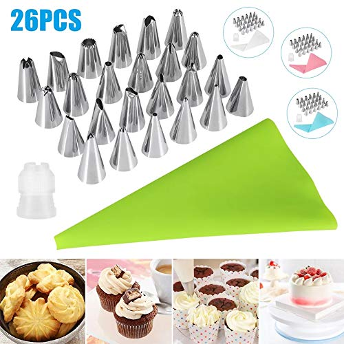 Zollyss 24 Nozzles, 1 Coupler & 1 Reusable Silicone Icing Bag Kit for Cup Cake, Muffin, Cake Icing, Piping and Decoration (Total 26 Pieces with Storage Box) Price & Reviews