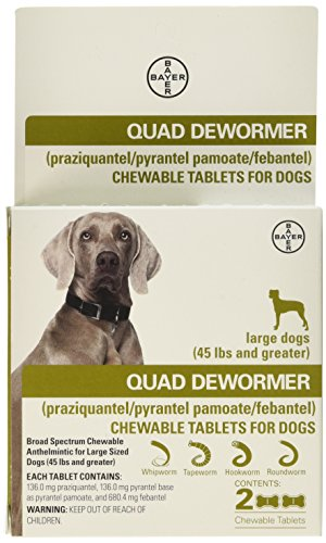 Quad Dewormer for Large Dogs (Over 45 lbs) 2 Chewable Tablets