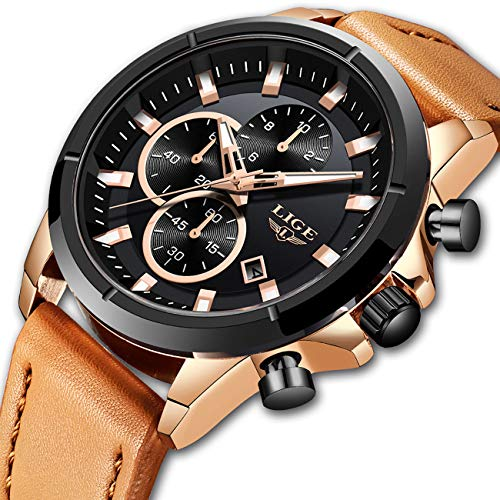 - LIGE Men's Fashion Sport Quartz Watch with Brown Leather Strap Chronograph Waterproof Auto Date Watches
