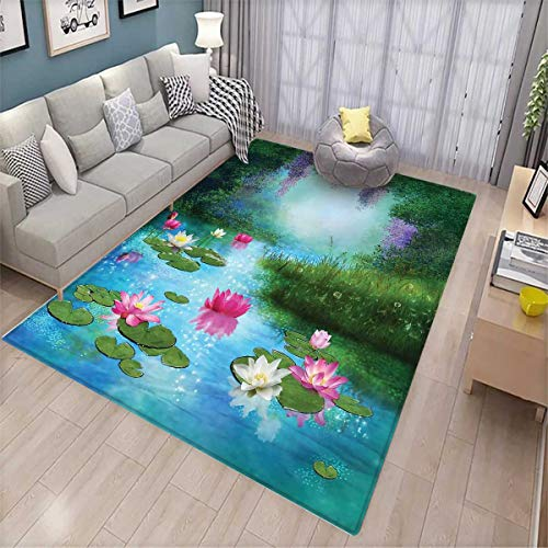 - Nature Kids Carpet Playmat Rug Fantasy Pond with Water Lilies Floating Romantic Lotus Fairy Tale Digital Art Door Mats for Inside Non Slip Backing Aqua Pink Green