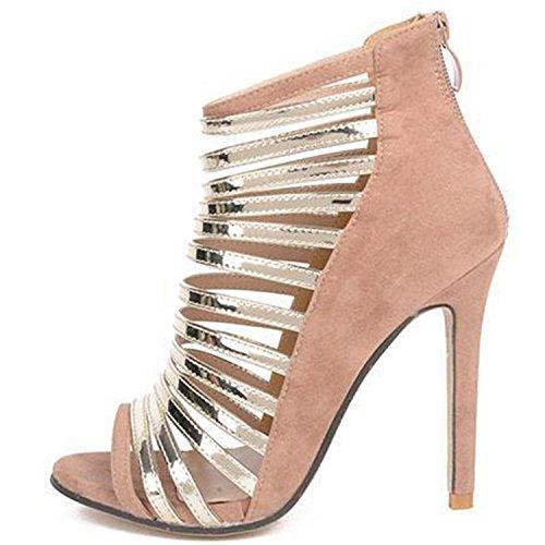 D2c Beauty Womens Strappy Peep Toe Sandali Stiletto Tacco Alto Albicocca