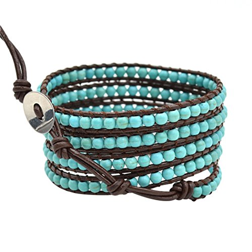 Real Spark 5 Wrap Turquoise Leather Bracelet Adjustable Womens Charms 23