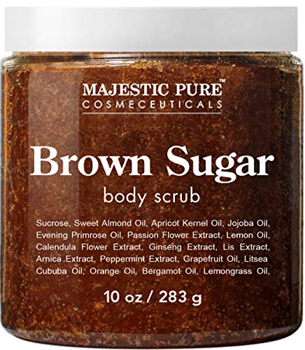 Brown Sugar Body Scrub for Cellulite and Exfoliation - Natural Body Scrub - Reduces The Appearances of Cellulite, Stretch Marks, Acne, and Varicose Veins, 10 Ounces (Best Face Scrub For Women)