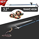 52 Inch Professional Standard Snake Tongs Reptile Grabber Rattle Snake Catcher Wide Jaw Handling Tool,with Blue Coating and Good Grip Handle,Smart Bright Flashlight