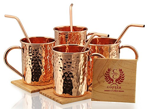 Copper Moscow Mule Mugs - Set of 4 - Highest Quality Gift Set – 100% HANDCRAFTED - Food Safe Pure Solid Copper Mugs 16 oz Hammered Moscow Mule Mug with BONUS:Copper Straws and Coasters by Copper Cure by Copper Cure (Image #5)