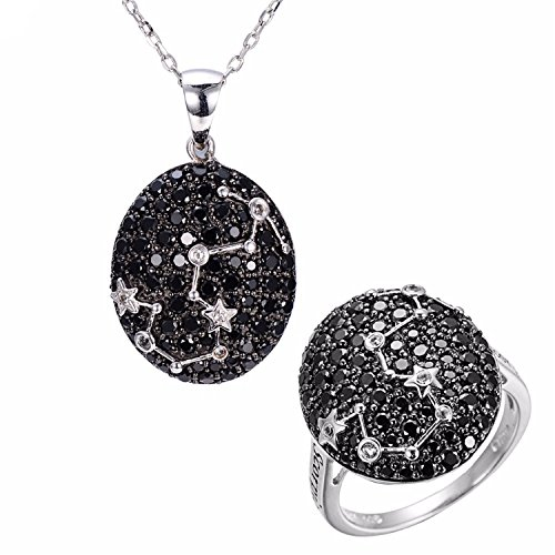 (SuperLouisa Fashion Scorpio Black Spinel & White Topaz Pendant & Ring Solid 925 Sterling Silver Necklace Sign Jewelry Sets For Women)