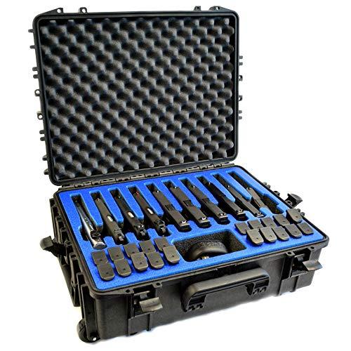 10 Pistol 20 Magazine Doro D2116-7W Heavy Duty Wheeled Gun Case with Custom MyCaseBuilder Foam Insert with Blue Topper
