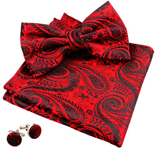 Alizeal Mens Paisley Pre-Tied Bow Tie, Pocket Square and Cufflinks Set, Wine Red