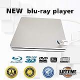 External Blu-ray DVD/BD/CD Drive BD-ROM 3D Blu-Ray Combo Player USB 3.0 Portable CD/DVD-RW Writer CD-ROM DVD-ROM Rewriter for PC Laptop Desktop Computer (Silver)