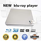 External Blu-ray DVD/BD/CD Drive BD-ROM 3D Blu-Ray Combo Player USB 3.0 Portable CD/DVD-RW Writer CD-ROM DVD-ROM Rewriter for PC Laptop Desktop Computer (Silver)