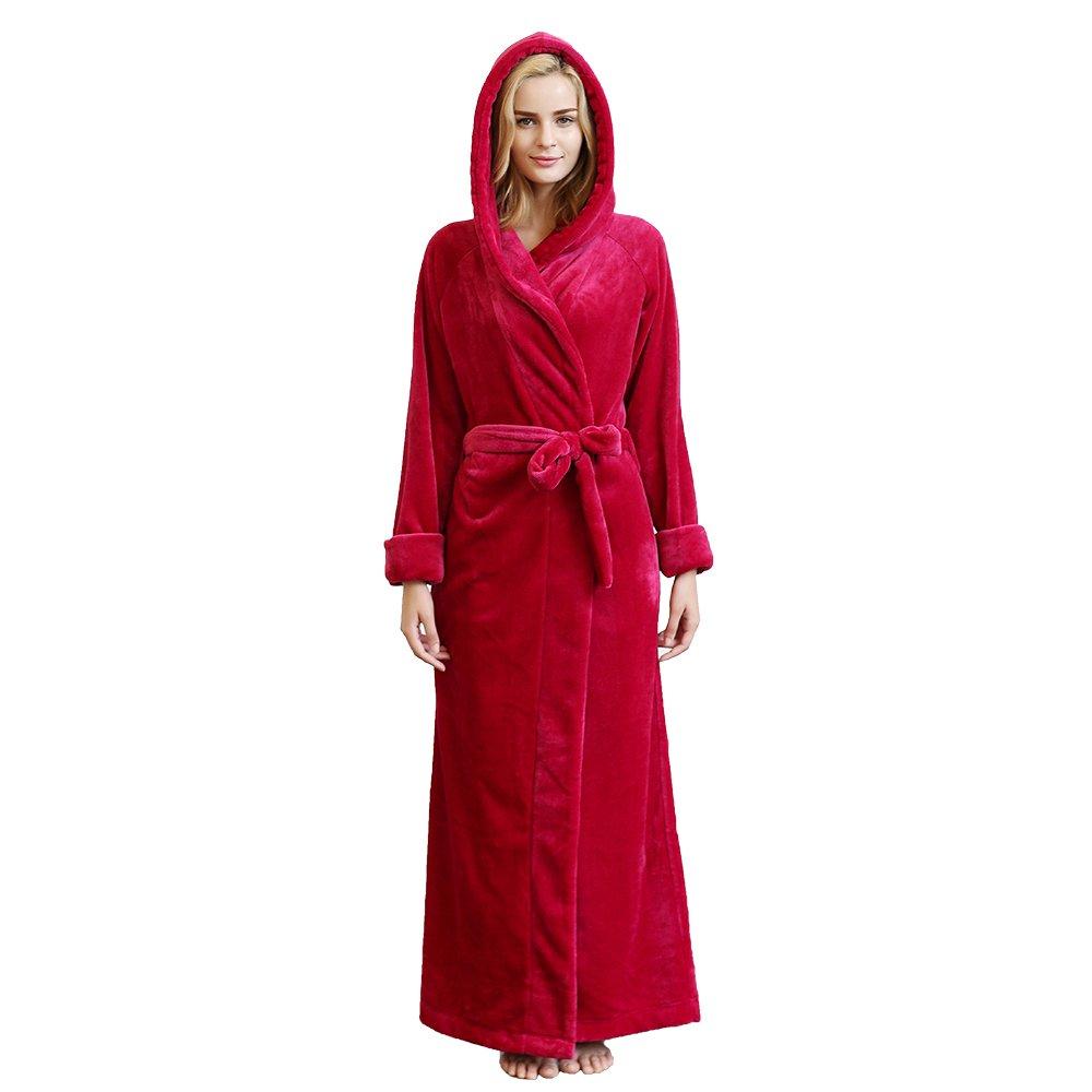7 VEILS Women Men Microfleece Flannel Ultra Long Hooded Bathrobes 16DMF101