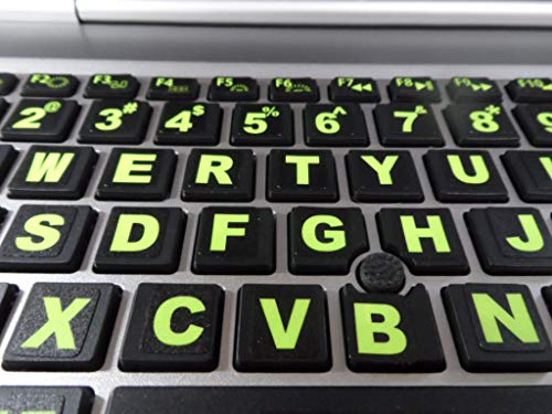Keyboard Stickers with Fluorescent Inlays Plus USB Light. Extra Large Symbols. Inlays (Not Printed). Will Not Wear or Fade. U.S. English Laptop & PC (Toshiba Laptop Keyboard Some Keys Not Working)